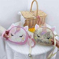 Jungen Mädchen Cartoon Mini Bag Magie Farbe Glitter Glänzende Einhorn Reißverschluss Brieftaschen Niedlichen Mode Einzelner Umhängetasche Einkaufen Münzbörse HWA5637