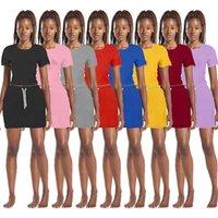 Designer Dress Suits Women Tracksuits Two pcs Outfits Logo Print T Shirt Mini Skirt Casual Summer Dresses Sets Short Sleeve Jogger Suit S-2XL Black Daily Clothes 5383