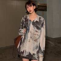 Fashion Unisex Men And Women Vintage Woven Oversize Casual Blouse Long Sleeves Watercolor Splash Ink Print Individuality Shirt Women's Blous