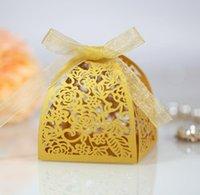 Envoltório de presente 50ps decoração de chocolate caixa de chocolate laser de chuveiro com fita design de casamento oco