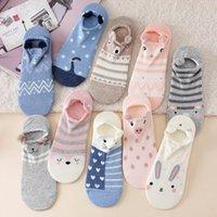 10 Piece=5 Pairs Cute Harajuku Cotton Socks Women Set Cartoon Ankle Sock Slippers Women Korean Style Funny Low Cut Short Socks