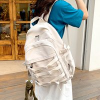 2021 womens backpack Fashion ladies school bag Large capacity solid color mesh travel backpack Mens student laptop backpack