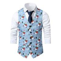Men's Vests PARKLEES Polar Bear Cartoon Print Blazer Vest For Men Christmas Party Costume Single Breasted Sleevess Tank Top Man Suits