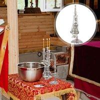 Fragrance Lamps 1Pc Household Incense Burner Cross Censer Religious Worship Accessory (Silver)