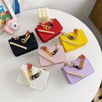 designer girls princess handbags sweet kids letter chain mini one shoulder bags children embossing PU Zero Wallet Messenger bag 0F017