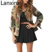 Jaquetas Femininas Lanxirui Moda Mulheres Camuflagem Casaco Casaco Outono Inverno Rua Básico Casacos Manga Longa Zíper Bombardeiro