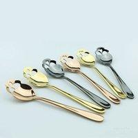 Aço Inoxidável Spoons Aço para Cores Café Chá Cutelaria Chá Crânio Sobremesa Colher Dinnerware Presente T2I52134