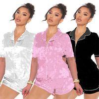 Плюс Размер S-2XL Женщины Спящая Повседневная Пижамас Наборы Письмо Печать Двухструктурные Набор Сплошные Цвета Ночные Коротки с коротким рукавом T Рубашки + Мини Шорты Nightgown 4651