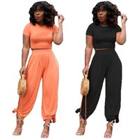 Summer Women two piece set tracksuits t-shirt pants plus size clothing 2XL yoga outfits plain pullover crew neck casual shirts trousers 5422