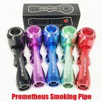 PROMEETHEUS Pocket Metal Fumar Tubos Eletrônicos Eletrônicos Cigarro Tubulação de Cabana De Cera Seco Herb Alumínio De Vidro Com Embalagem De Presente
