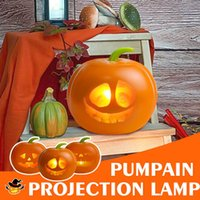 Halloween Party Holiday DIY Decorations LED Pumpkin Projection Lamp Animated Talking Pumpkin Light Built-in Speaker Projector G0910