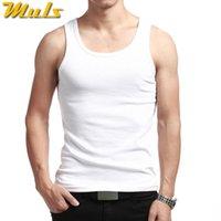 Uomini canotte canotte in cotone estate maschio intimo maschio maglia senza maniche traspirante flessibile casual gilet bianco grigio nero marca MULS MSS16043