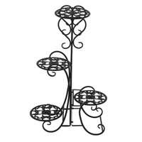 Bahçe Süslemeleri 4 Saksı Yuvarlak Çiçek Metal Raflar Bitki Pot Kapalı Açık Bitkiler Tutucu Siyah Için Dekorasyon Standı