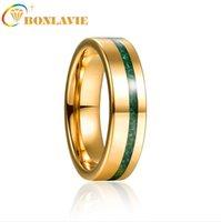 6mm Gold Polished Inlaid Malachite Steel Tungsten Carbide Ring Men's Fashion Wedding Jewelry Best Gift