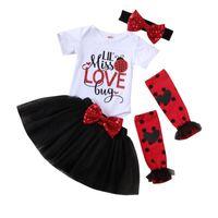 Clothing Sets Valentine's Day Born Baby Girl Short Sleeve Letter Print Bodysuit Tops+Tulle Skirt+Headband+ Clothes 2021