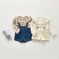 حللا 2021 ربيع الخريف الطفل وزرة بنين بنات الدنيم الاطفال بذلة الكورية أزياء الأطفال السراويل 2 قطع 1445 b3