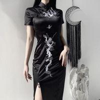 Günlük Elbiseler kadın Karanlık Rüzgar Retro Ejderha Işlemeli Cheongsam İnce Elbise