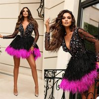 Luxury Feather Crystal Evening Dresses Glitter Beads Sequins Long Sleeves Short Mermaid Prom Dress Deep V Neck Custom Made Formal Party Pageant Gowns