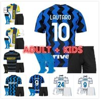 Homens Kid Kit Kit Inter Barella Soccer Jersey Lukaku Milão Vidal Lautaro Eriksen Alexis 20 21 22 Quarta Camisa de Futebol 2021 2022 Hakimi Uniformes