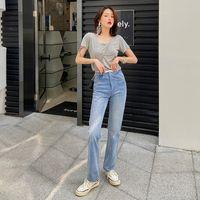 Jeans rectos de cintura altos de cuero de estilo a cuadros con su deseo de moda