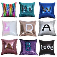 Magic Pillowcase Sequins Throw Pillow Mermaid 40*40cm Cushion Cover Decorative Reversible Sequin Pillowcover for Sofa Decorative