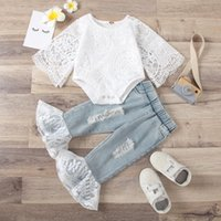 Clothing Sets Infant Kids Baby Girls Ripped Jeans Suit Solid Color Crew Neck Short Sleeve Mesh Tops Bodysuit Flare Long Pants 2Pcs