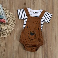Clothing Sets 0-3T Born Kid Baby Boy Girl Clothes Set Cute Bear Cartoon Sunsuit Stripe T-Shirt Top And Bib Pants Overalls Cotton Outfits
