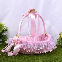 Pink Blue Flower Girl Baby Hold Basket Bloemenmeisje Mandje Satin con pizzo Edge ondulato Cestas de Boda