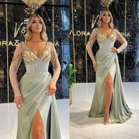 2022 Sexy V Neck Mermaid Prom Dresses With Sheer Long Sleeves Beaded Top Plus Size Front Split Evening Occasion Gowns For Arabic Women