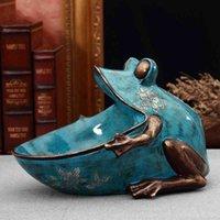 3D grenouille, statue, accessoire de décoration à domicile, sculpture, décor de bureau, boîte de rangement, figurine de table miniature, fête de mariage art décoratif 210329