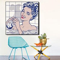 Roy Lichtenstein Woman in Bath Giclee Canvas Print Paintings Wall Art On Canvas High Quality Home Decor Multi Sizes /Frame Options berR Bfme
