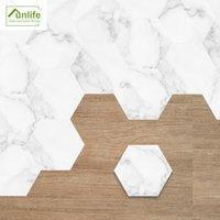 Funlife Jazz White Marble Hexagon Floor Stickers Anti-Slip Self-Adhesive Waterproof Floor Tiles for Hotel Bathroom Kitchen Home