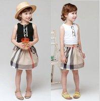 Children's sets summer girls lace sleeveless T-Shirts + plaid A skirt suit Kids Designer Clothes,size:100-140CM