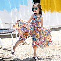 Girl's Dresses Kids Teen Children Girls Clothes Set Summer Cute Sleeveless Bohemia Butterfly Print Comfortable Ruched Girl Jumpsuit Romper