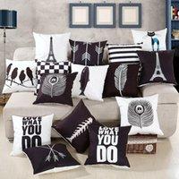 Cushion Decorative Pillow Drop Ship Wholesale Super Soft Velvet Eiffel Tower Home Cover Pillowcase Feather White Black Decor Cushion