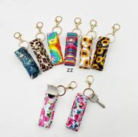 Chapstick Keychain Inhaber Party Gunst Leder Sonnenblume Leopard Design Lippenstift Lip Tubes Lagerorganisation Tragbare Kosmetik HWB9148
