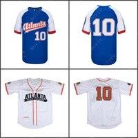 Hombres Atlanta Black Galletas 10 Negro League Baseball Jersey cosido