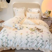 Bedding Sets Luxury Princess Set Soft Breathable 400TC Washed Cotton Flowers Embroidery Duvet Cover Quilt Bed Linen Pillowcas