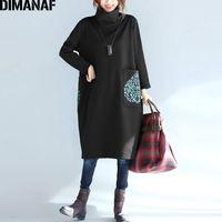 Dimanaf Plus Размер женщины платье зимняя водолазка хлопок толстые леди Vestidos женская одежда свободно большого размера с длинным рукавом платье черный 210323
