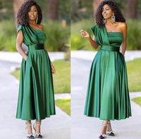 Gorgeous Simple Dark Green A Line Evening Dresses One Shoulder Ankle Length Pleats Formal Gowns Party Prom Dress Vestidos De Festa Custom Made