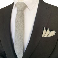 New Men's Retro Wool Tie Plain Necktie Hanky Pocket Square Handkerchief Set gift Business Wedding 6CM Skinny Accessory