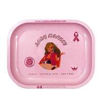 Lady Hornet Tray Rauchen Zubehör mit Tasche Packung Metall Rosa Girly Muster Gedruckt Kleine Walzschalen 180 * 140mm