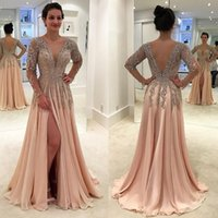 Gorgeous Beaded Backless Mother Of The Bride Dresses With Long Sleeves Deep V Neck Formal Gowns Split Side A Line Wedding Guest D
