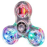2021 LED FINTERTIP GYRO Şeffaf Renkli Dekompresyon Işık Fidget Spinner El Üst Spinners Karanlık Çocuk Oyuncakları Glow