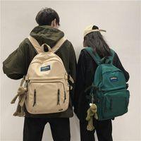 School Bags Simple Solid Color Woman Backpack Waterproof Nylon Female Shoulder Student Bag For Teenage Girl Boy College