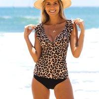 2021 new Sexy Leopard V-neck flash split high waist swimsuit for womenCT3T