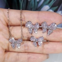 2021 925 Silver Womens Set Butterfly Diamond Ring Necklace Earrings Three-piece Wedding Bridal Jewelry