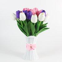 10pcs Touch Véritable Fleurs artificielles Tulips Fleurs Bouquet de fleur Décorer des fleurs pour la décoration de jardin de mariage 2018 V2