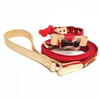 Print Leather Pet Collar Tide Leather Teddy Dog Collar Leashes Set Traction Rope Bowknot Red