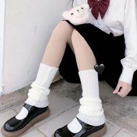 Японский стиль женщин девушки вязаные ноги теплые покройте крышка Harajuku студент осень повседневная свободные чулки лолита каваи вязание крючком